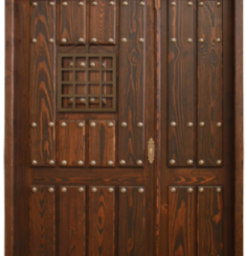 Puerta r stica con fijos y montante modelo r 2 ventanas - Puerta rustica exterior ...